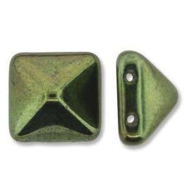 12 PC 12mm 2 Hole Pyramid : Jet Green