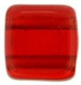 50 PC 6mm 2 Hole Tile : Siam Ruby