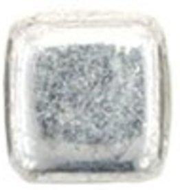 50 PC 6mm 2 Hole Tile : Silver Half Coat