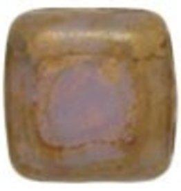 50 PC 6mm 2 Hole Tile : Milky Alexandrite Copper Picasso