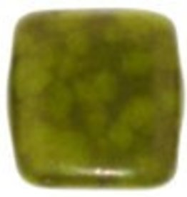 50 PC 6mm 2 Hole Tile : Opaque Olive Moondust