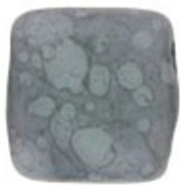 50 PC 6mm 2 Hole Tile : Matte Opaque Pale Turquoise Moondust