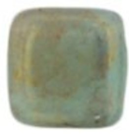 50 PC 6mm 2 Hole Tile : Milky Turquoise Pink Topaz Luster
