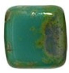 50 PC 6mm 2 Hole Tile : Persian Turquoise Picasso