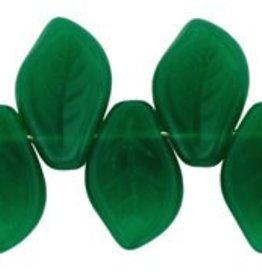 25 PC 9x14mm Leaf : Milky Emerald