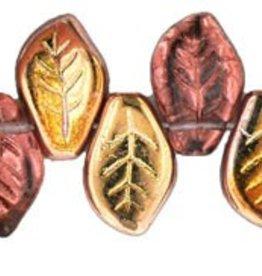 25 PC 9x14mm Leaf : Amethyst Bronze