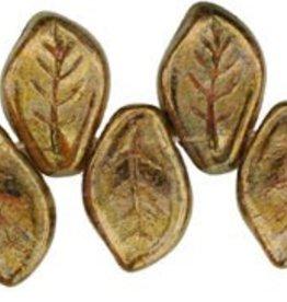 25 PC 9x14mm Leaf : Transparent Gold Luster