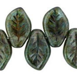 25 PC 9x14mm Leaf : Transparent Green Luster