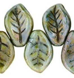 25 PC 9x14mm Leaf : Opaque Green Luster