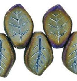 25 PC 9x14mm Leaf : Matte Brown Iris