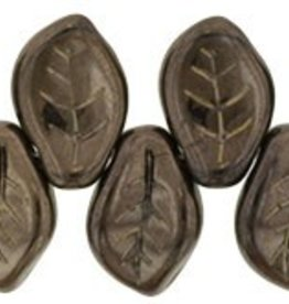 25 PC 9x14mm Leaf : Chocolate Bronze