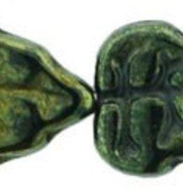 25 PC 8x10mm Vertical Leaf : Metallic Green