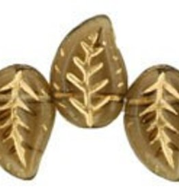 25 PC 9x12mm Eucalyptus Leaf : Smoky Topaz Gold Inlay