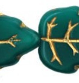 25 PC 12x15mm Vertical Leaf : Milky Teal Green Gold Inlay