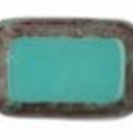 24 PC 8x12mm Table Cut Rectangle : Opaque Turquoise Brown Picasso