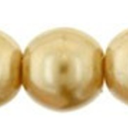 120 PC 4mm Round Glass Pearl : Gold