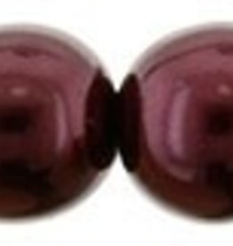 DISC 25 PC 6mm Round Glass Pearl : Burgandy