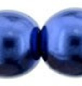 25 PC 6mm Round Glass Pearl : Montana Blue