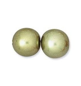 55 PC 8mm Round Glass Pearl : Olivine
