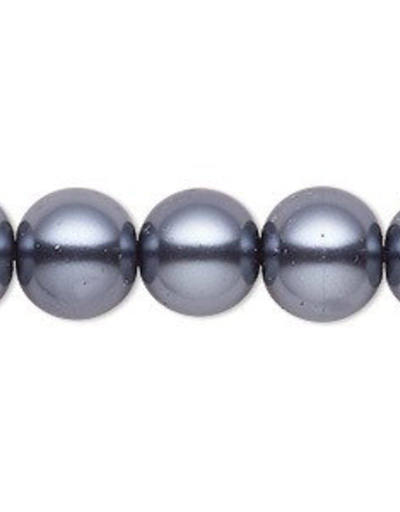 "16"" 12mm Round Glass Pearl : Gunmetal"