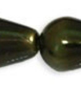 75 PC 4x6mm Drop Glass Pearl : Dark Olive