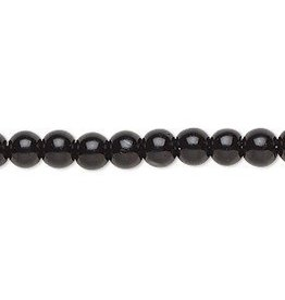 55 PC 8mm Round Glass Pearl : Black