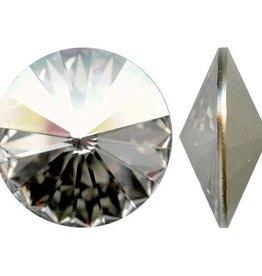 1 PC 18mm Swarovski Rivoli : Crystal Silver Shade Foil Back
