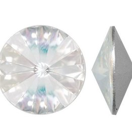 2 PC 14mm Swarovski Rivoli : Crystal Silver Shade Foil Back
