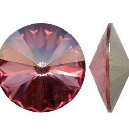 2 PC 14mm Swarovski Rivoli : Antique Pink Foil Back