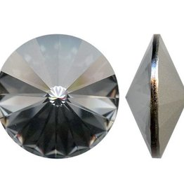 2 PC 14mm Swarovski Rivoli : Crystal Silver Night Foil Back