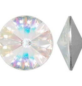 2 PC 14mm Swarovski Rivoli : Crystal AB Foil Back