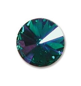 2 PC 14mm Swarovski Rivoli : Emerald Glacier Blue Foil Back