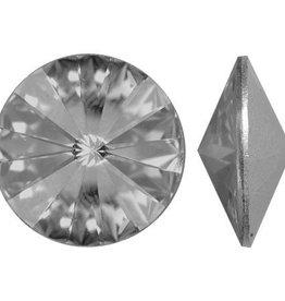 2 PC 12mm Swarovski Rivoli : Black Diamond Foil Back