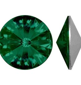 2 PC 12mm Swarovski Rivoli : Emerald Foil Back
