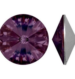 2 PC 12mm Swarovski Rivoli : Amethyst Foil Back