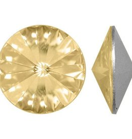 2 PC 12mm Swarovski Rivoli : Golden Shadow Foil Back
