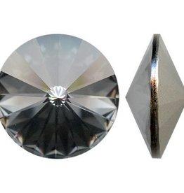 2 PC 12mm Swarovski Rivoli : Crystal Silver Night Foil Back