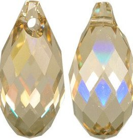 2 PC 13x6.5mm Swarovski Briolette : Golden Shadow