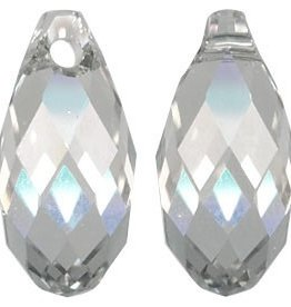 2 PC 11x5.5mm Swarovski Briolette : Silver Shade