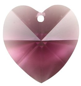 2 PC 10mm Swarovski Heart Pendant : Amethyst