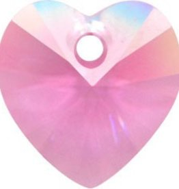 2 PC 10mm Swarovski Heart Pendant : Rose