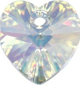 2 PC 10mm Swarovski Heart Pendant : Crystal AB