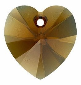 2 PC 10mm Swarovski Heart Pendant : Bronze Shade