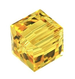 4 PC 6mm Swarovski Cube : Sunflower