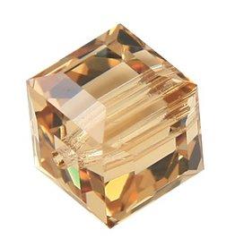 4 PC 6mm Swarovski Cube : Light Colorado Topaz