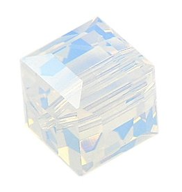 4 PC 6mm Swarovski Cube : White Opal
