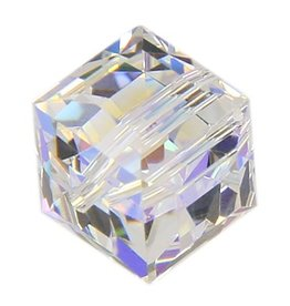 4 PC 6mm Swarovski Cube : Crystal AB