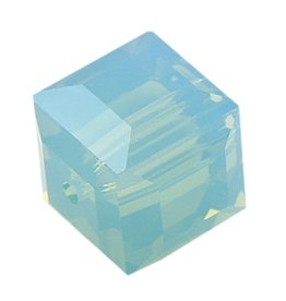 4 PC 6mm Swarovski Cube : Pacific Opal