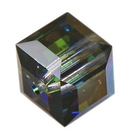 4 PC 6mm Swarovski Cube : Medium Vitrail