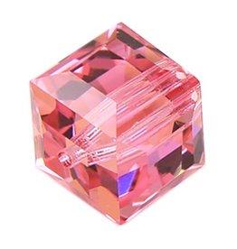 4 PC 8mm Swarovski Cube : Rose